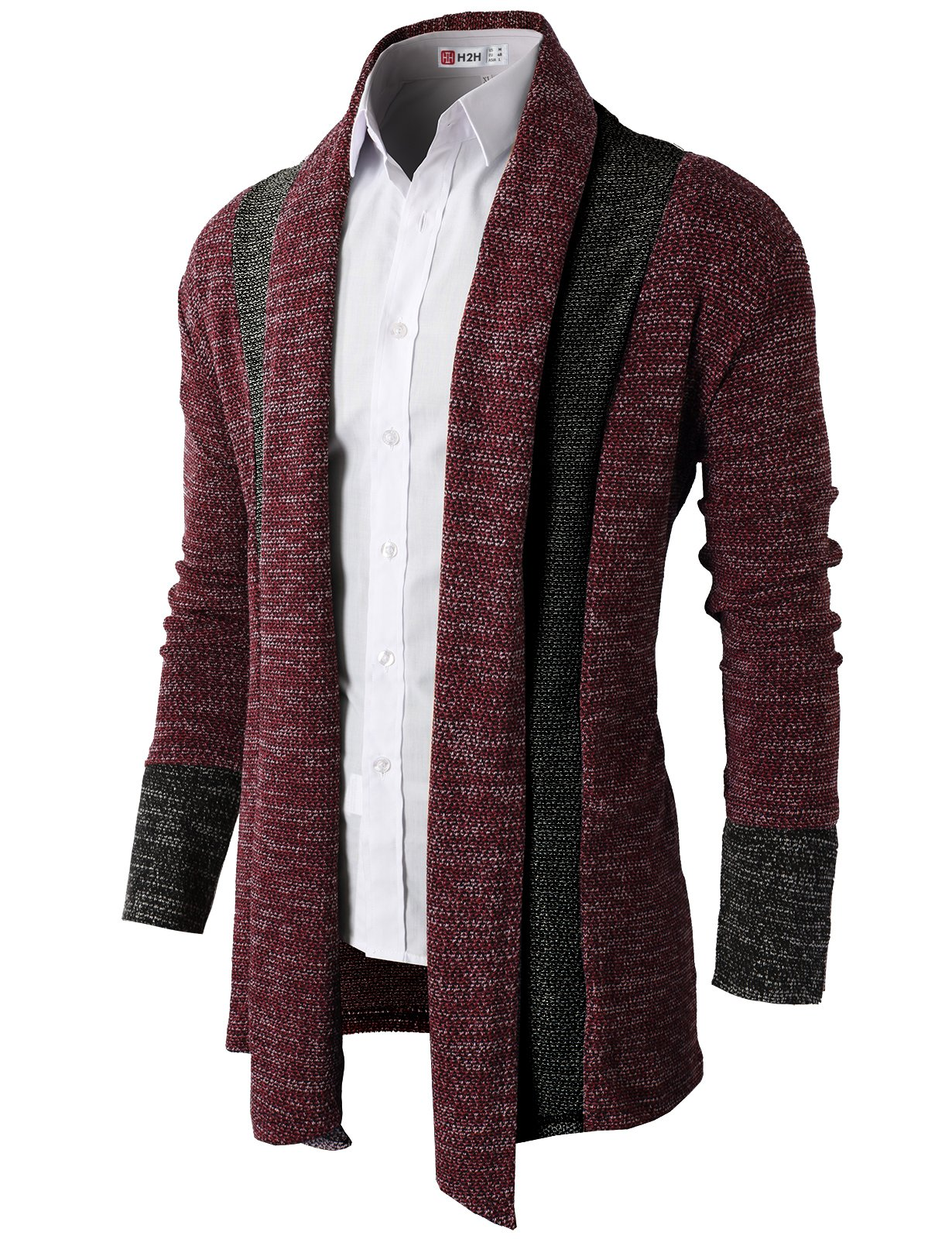 H2H Men's 100% Pure Cashmere Button Front Long Sleeve Cardigan Sweater RED US M/Asia L (KMOCAL012)