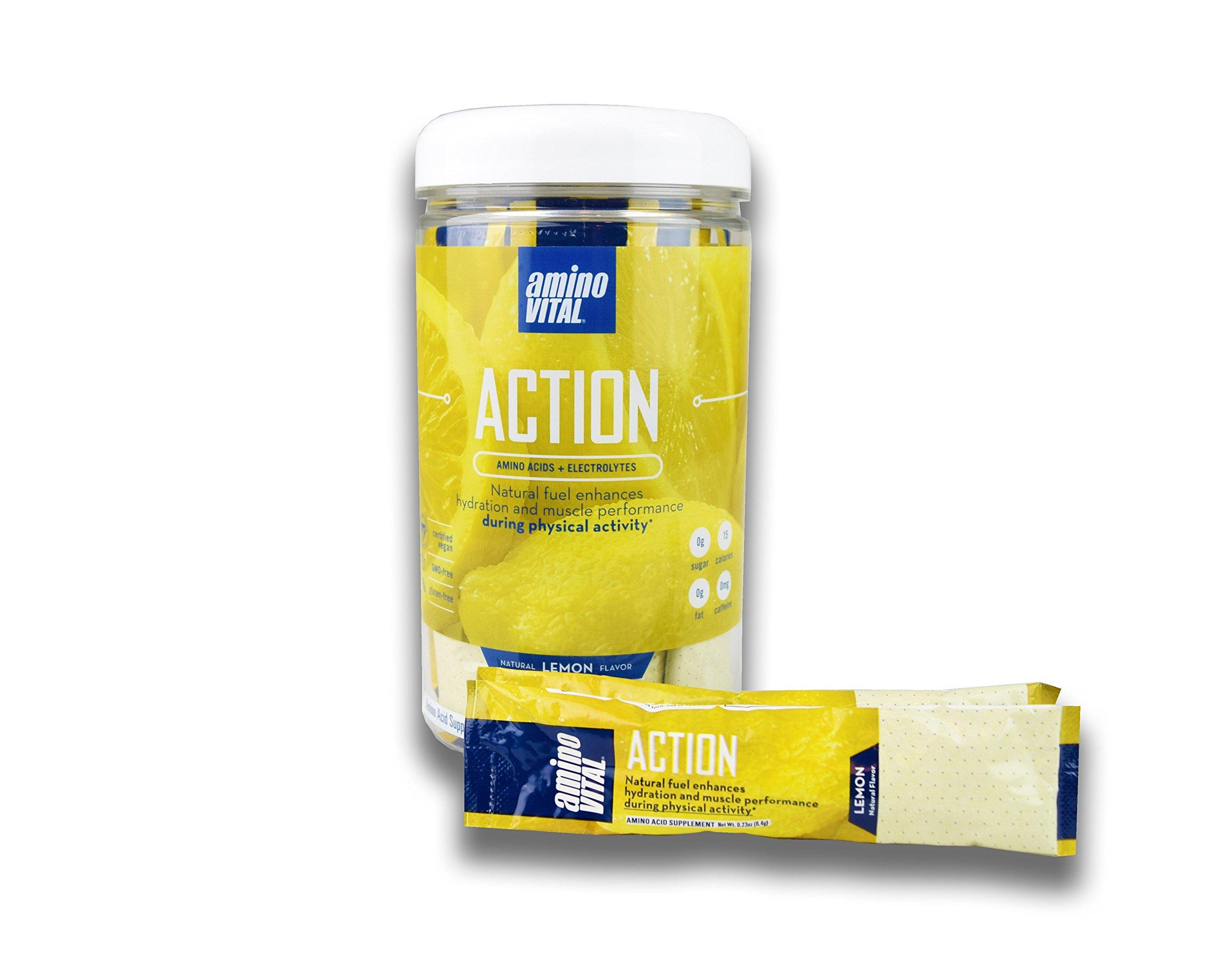 Amino VITAL Action - Fermented Vegan BCAAs Amino Acid Powder + Electrolytes in Single Serve Packets | Keto Friendly Supplement with Glutamine & Arginine | No Additives & No Fillers | 14 x 6.4g, Lemon