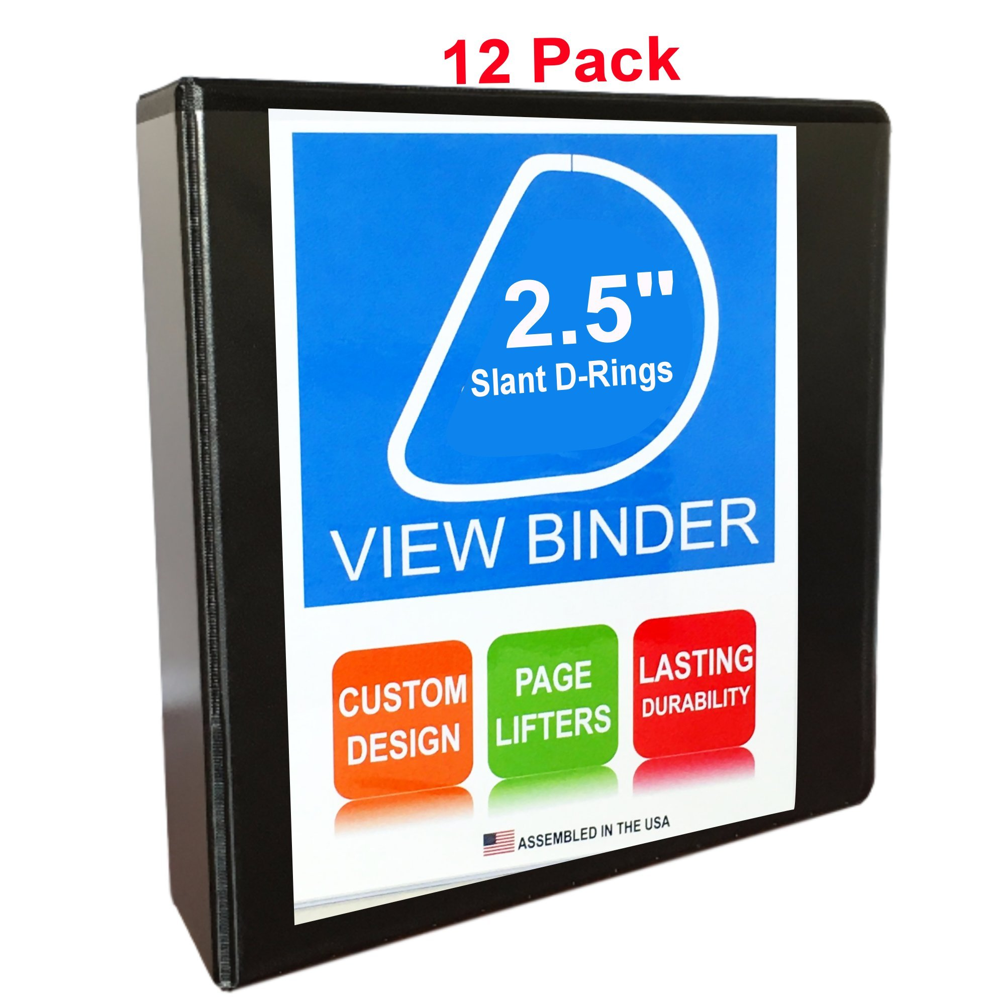 3 Ring Binder, 2.5''D Rings, White, 12 Pack, Clear View, Pockets (3.2'' Spine)