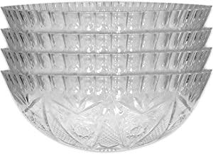 Large Plastic Bowls for Serving ~ 4 Crystal Cut Plastic Bowls | Clear Bowls Plastic | Plastic Bowls Bulks (Party Food Bowls)