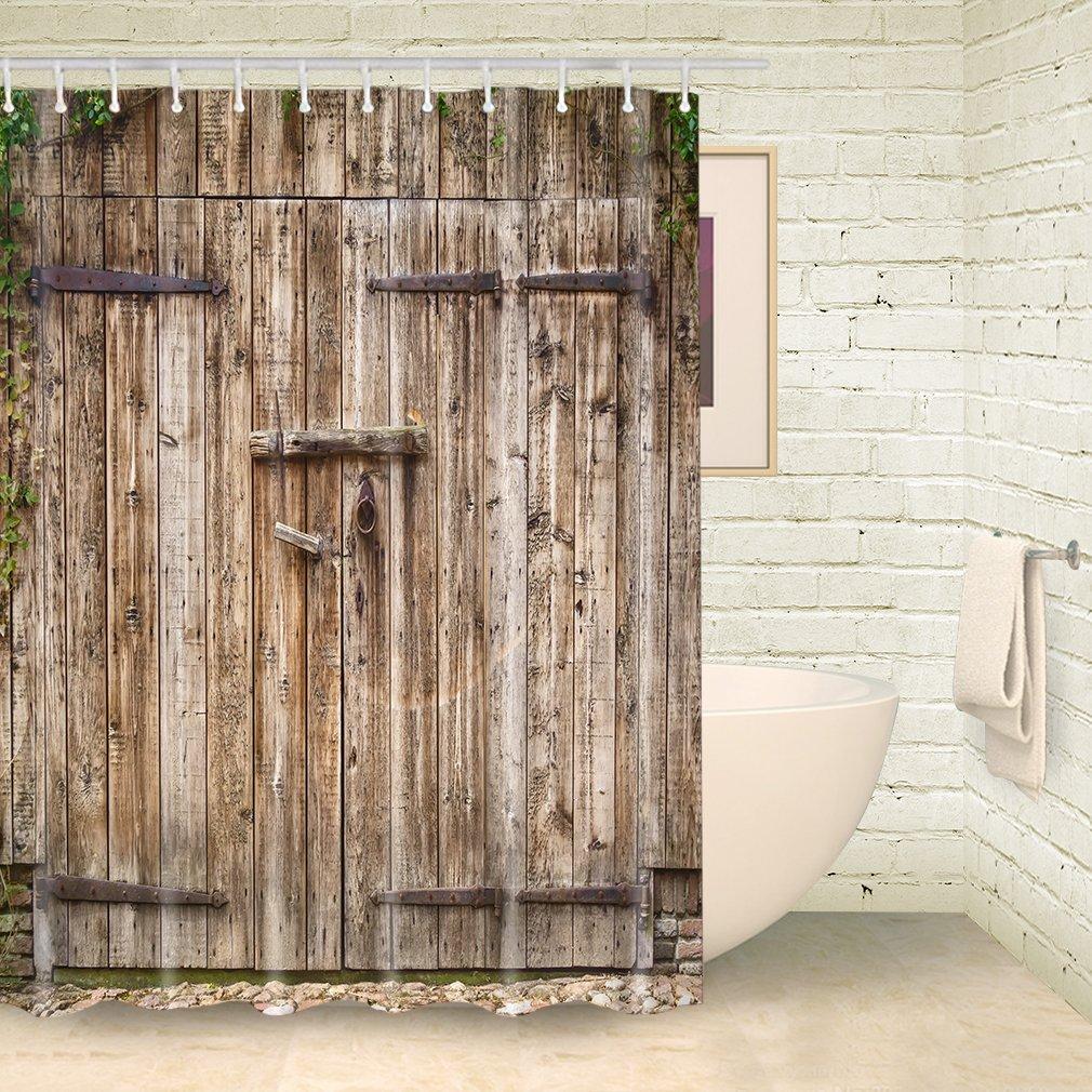 Amazon.com: Vintage Wood Barn Door Shower Curtain by FOOG Rural ...