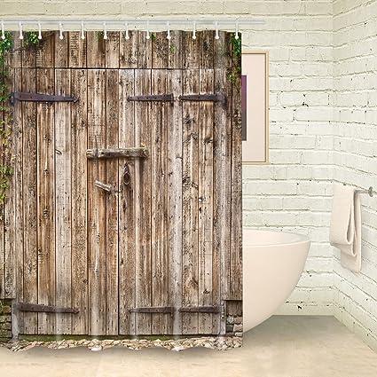 Amazon Foog Rustic Barn Door Shower Curtain Rural Vintage