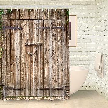 Vintage Wood Barn Door Shower Curtain By FOOG Rural Wooden Garage Door  Waterproof Mildew Resistant Fabric