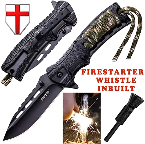 Pocket Knife - Tactical Folding Knife - Spring Assisted Knife with Fire Starter & Paracord Handle - Best EDC Survival Hiking Camping Knife for Army