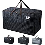 """Waterproof Thick Over-sized Organizer Storage Bag with Strong Handles, Travelling Bag, College Carrying Bag, Camping Bag for Christmas, Festival Decorations, Washable (27.516.513.8"""", Black Dot)"""