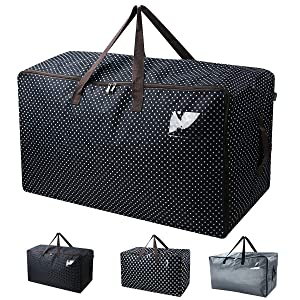 iwill CREATE PRO Extra Large Storage Box, Moving Zip Tote Bag, Halloween Ornament Storage Bag, 27.5 X 16.5 X 13.8, Black Dot