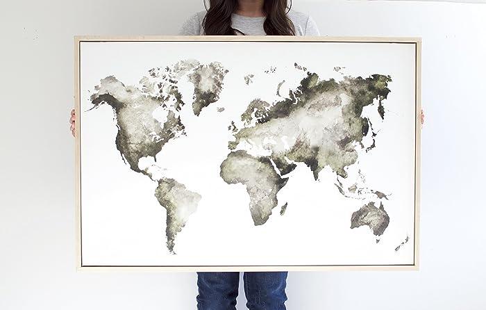 Amazon watercolor world map framed world map handpainted watercolor world map framed world map handpainted world map canvas modern wall art gumiabroncs Choice Image