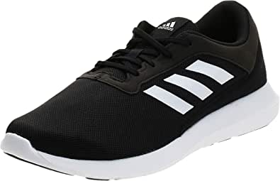 Adidas Coreracer Mesh Side-Stripe Back-Logo Lace-Up Running Sneakers for Men - Core Black and Ftwr White