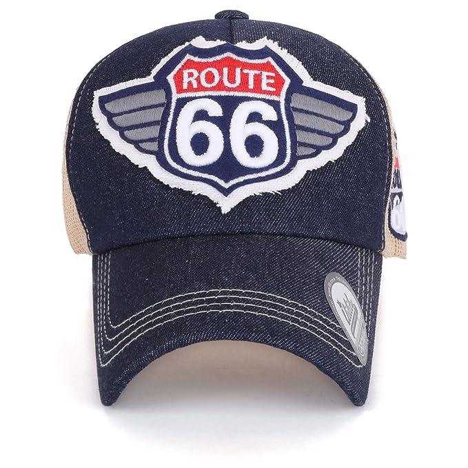 3f713df4a ililily Route 66 Wing Logo Patch Denim Mesh Back Snapback Hat ...