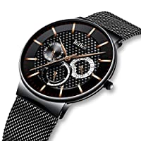 Herrenuhren Schwarz Herren Datum Kalender Edelstahl Mesh Wasserdichte Uhr Luxus Business Casual Dress Ultra dünn Analog Quarz Armbanduhren für Männer