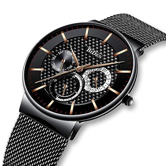 Relojes para Hombres Negro Reloj de Fecha Impermeable de Malla de Acero Inoxidable para Hombre Relojes