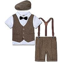 mintgreen Trajes para Niños Gentleman Conjunto 4 Piezas Camisa Manga Corta con Pajarita + Chaleco + Pantalones de…