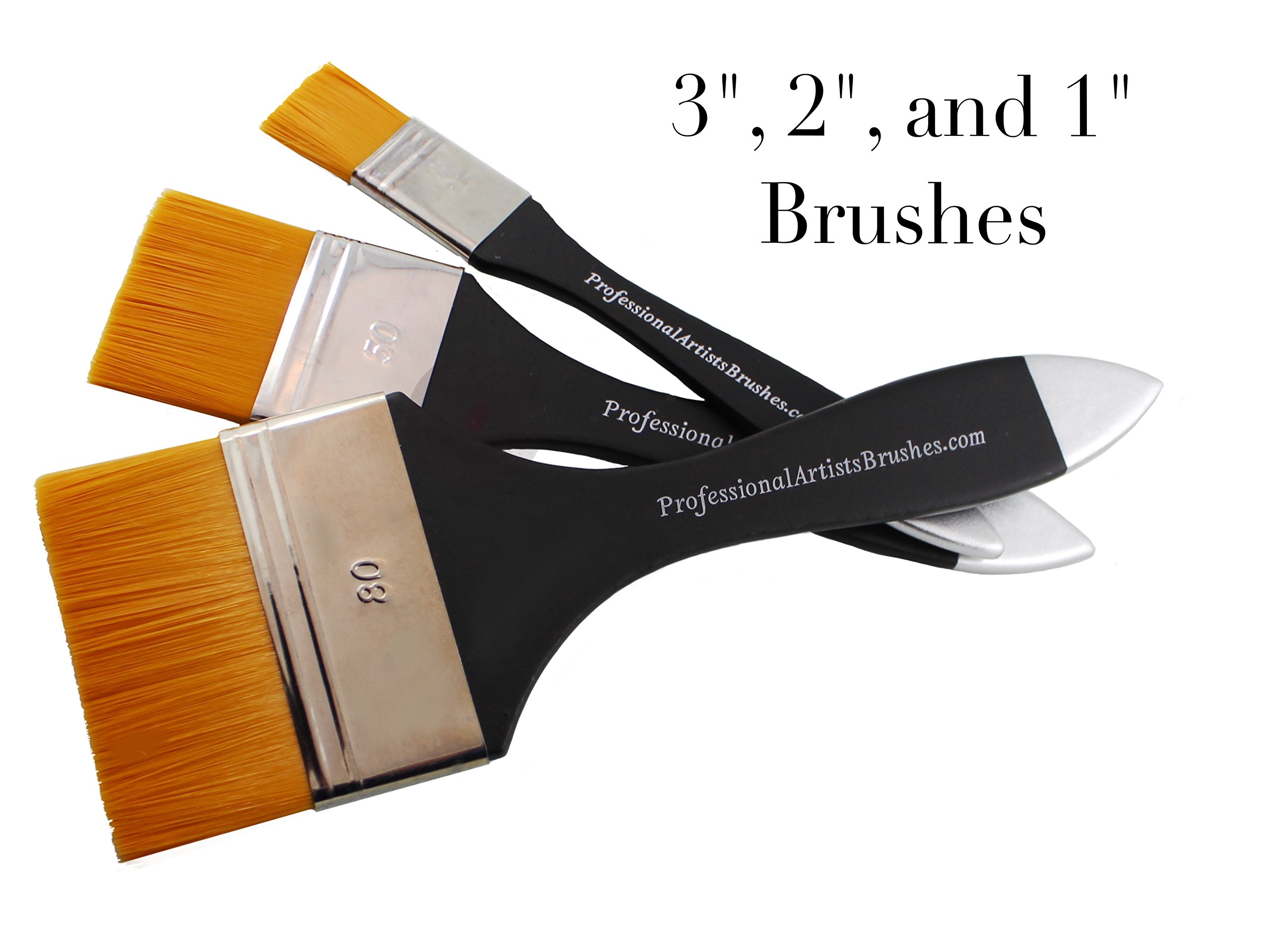 Flat Wash Brush Set for Acrylics, Watercolor and Oils. Paint Large Areas Quickly and Smoothly With Liquid Paint. Upgrade of Design and Quality in 2016. Will Not Shed Bristles
