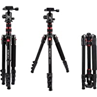 "BONFOTO B690A Lightweight Aluminum Alloy Camera Travel Portable Tripod with 360 Degree Ball Head,1/4"" Quick Release Plate,Bubble Level and Carry Bag for Canon Nikon Sony DSLR"