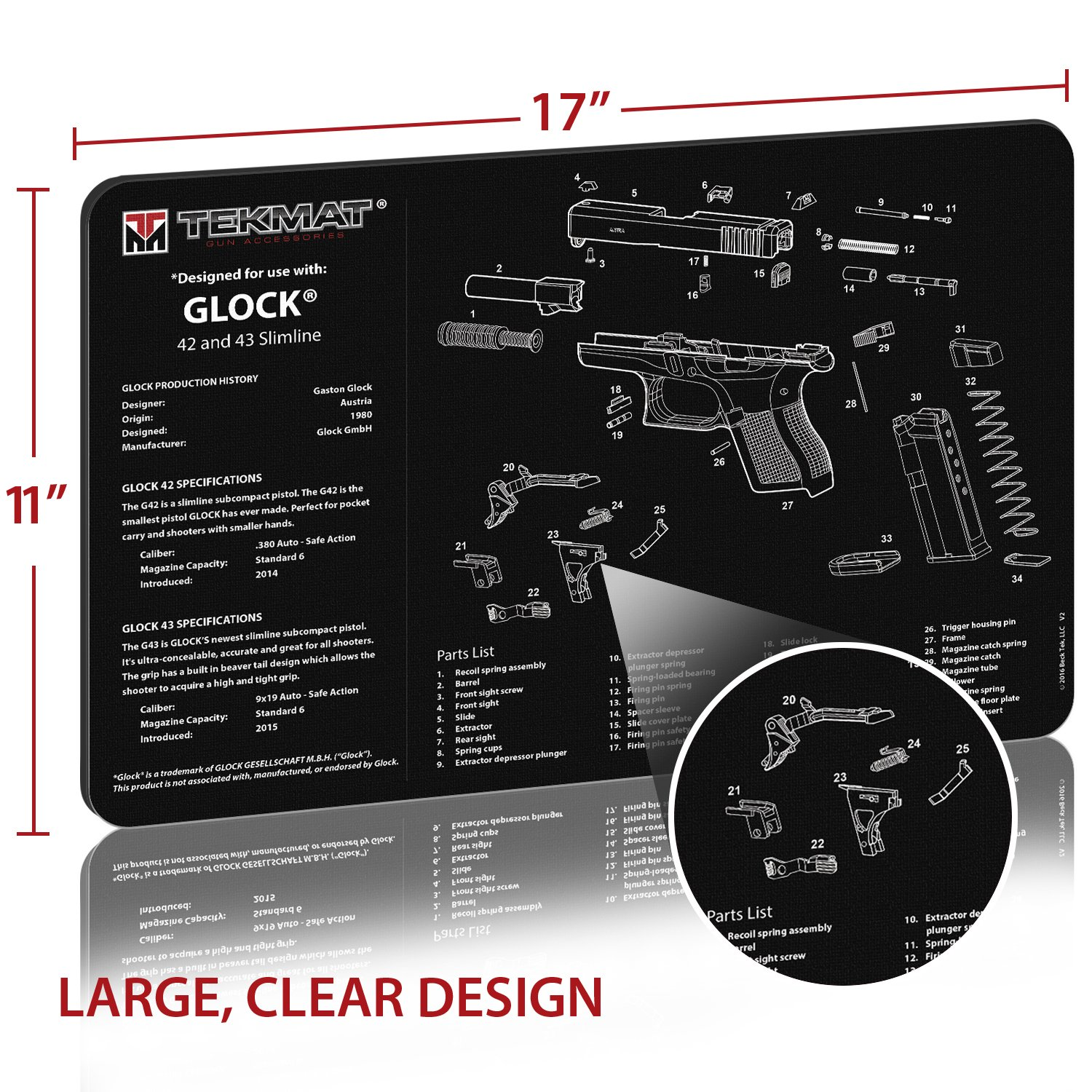 Glock 42 9mm Diagram Modern Design Of Wiring 23 Amazon Com Tekmat And 43 Gun Cleaning Mat 11 X 17 Thick Rh