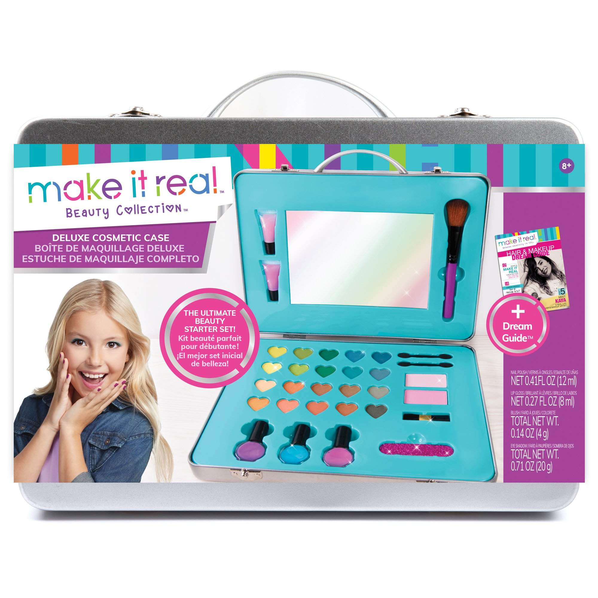 Make It Real - Deluxe Cosmetic Case. Girls Makeup Kit is a Perfect Starter Cosmetic Set for Kids and Tweens. Includes Case, Mirror, Eye Shadow, Blush, Brushes, Lip Gloss, Nail Polish and More