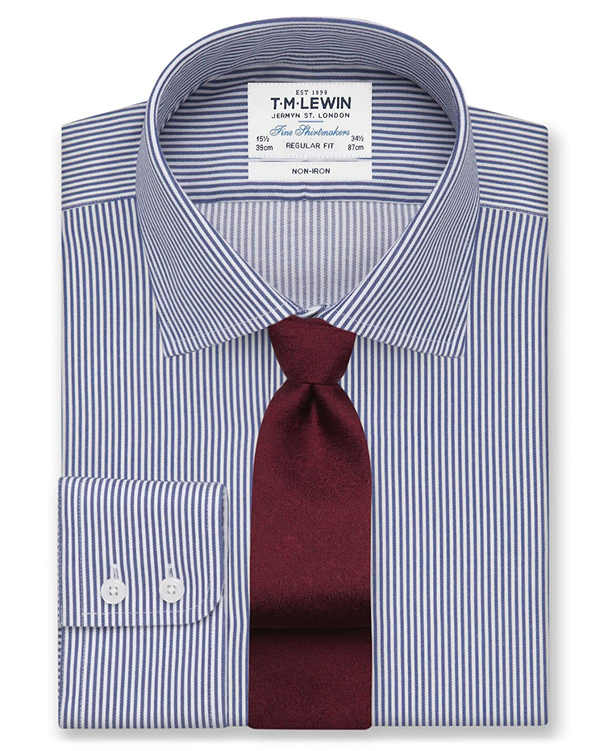 T.M.Lewin Non-Iron Blue Dogtooth Cutaway Collar Fitted Shirt
