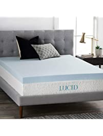 LUCID 4 Inch Gel Memory Foam Mattress Topper - Ventilated Design - Ultra-Plush