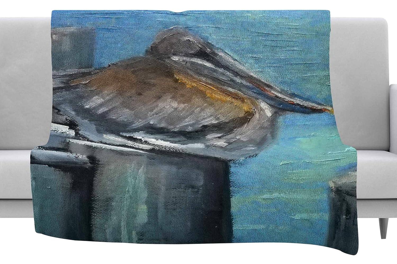 40 x 30 Fleece Blanket Kess InHouse Carol Schiff Hunkered Down Blue Gray Throw