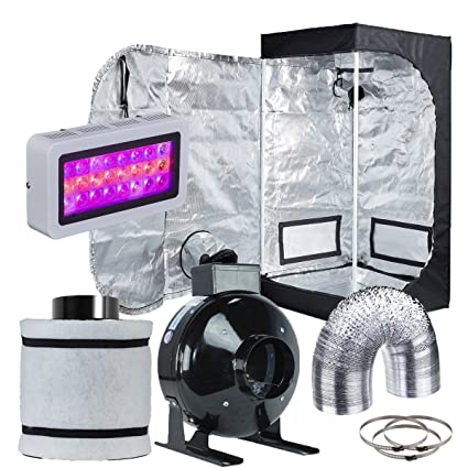 Hydro Plus Grow Tent Complete Kit LED 300W Grow Light + 4u0026quot; Fan Filter Ventilation  sc 1 st  Amazon.com : grow tent and light package - afamca.org