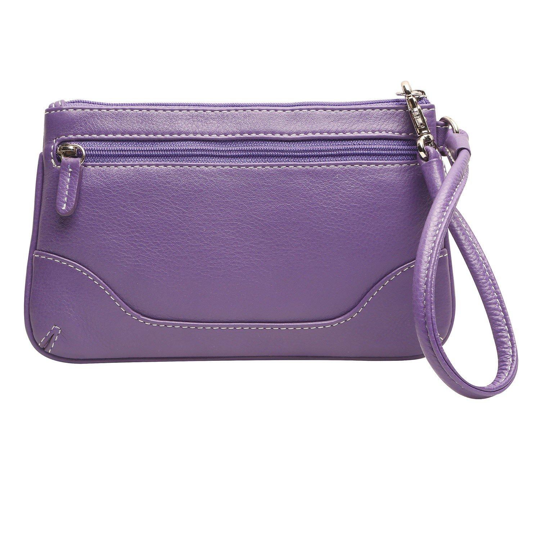 Ili Women's Stitched Leather Wristlet Purse - Zip-Top Handbag with Strap- Purple