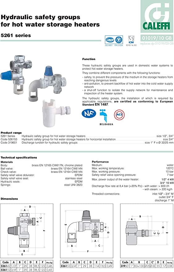 3//4/ Caleffi 526152/Grupo seguridad para caldera