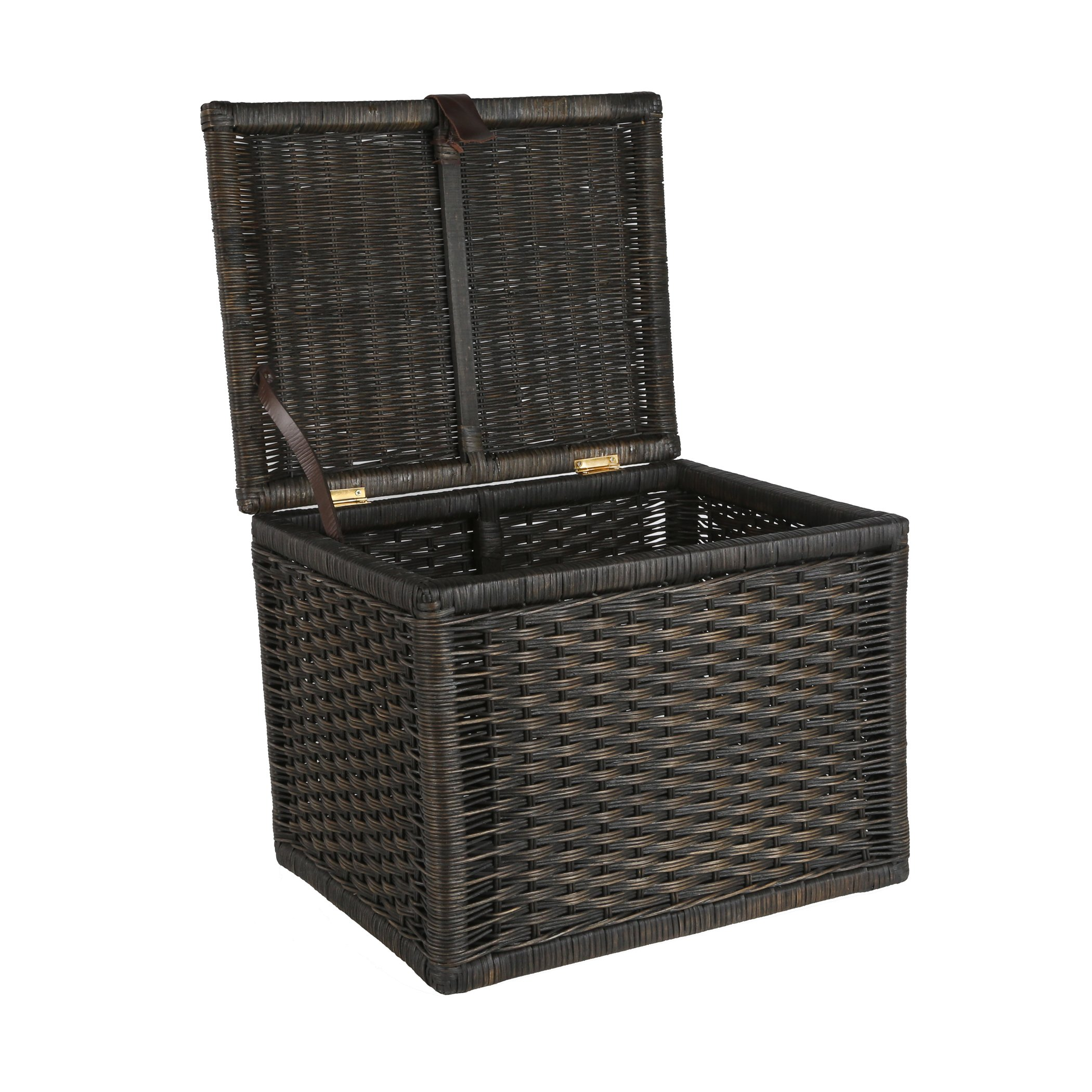The Basket Lady Small Wicker Storage Trunk | Wicker Storage Chest One Size (size 1) Antique Walnut Brown