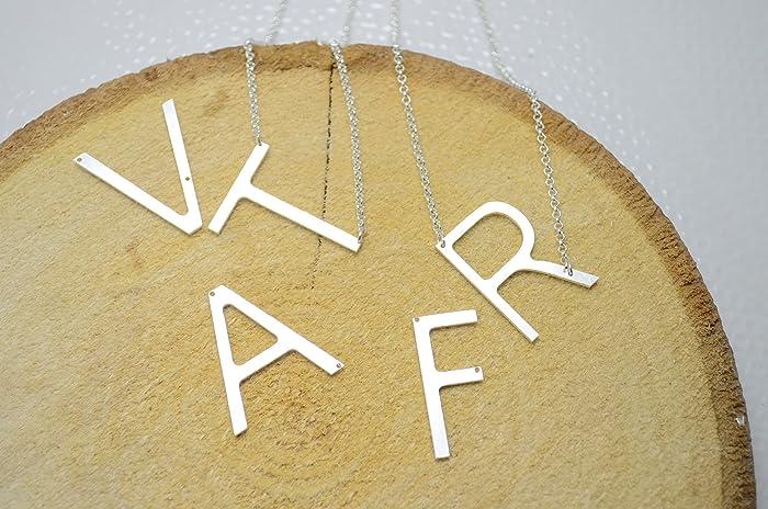 amazon com large initial necklace oversized letter alphabet