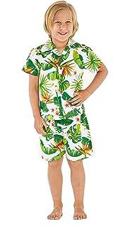 cd2a541da Resaca de Hawai Camisa Boy Aloha Luau Cabana Set en Vendimia Tropical Toile