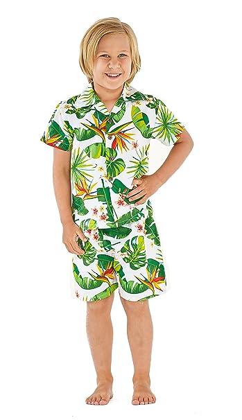 9d661c844 Resaca de Hawai Camisa Boy Aloha Luau Cabana Set en Ave del paraíso Blanco  2 años