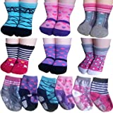 BSLINO Non-Skid Gripper Assorted 6 Pairs 12-24 Months Baby Girl Toddler Socks Anti Slip Stretch Knit Grips Cotton Shoe Socks Slippers Gift+ Thank You Card (Multicolor)