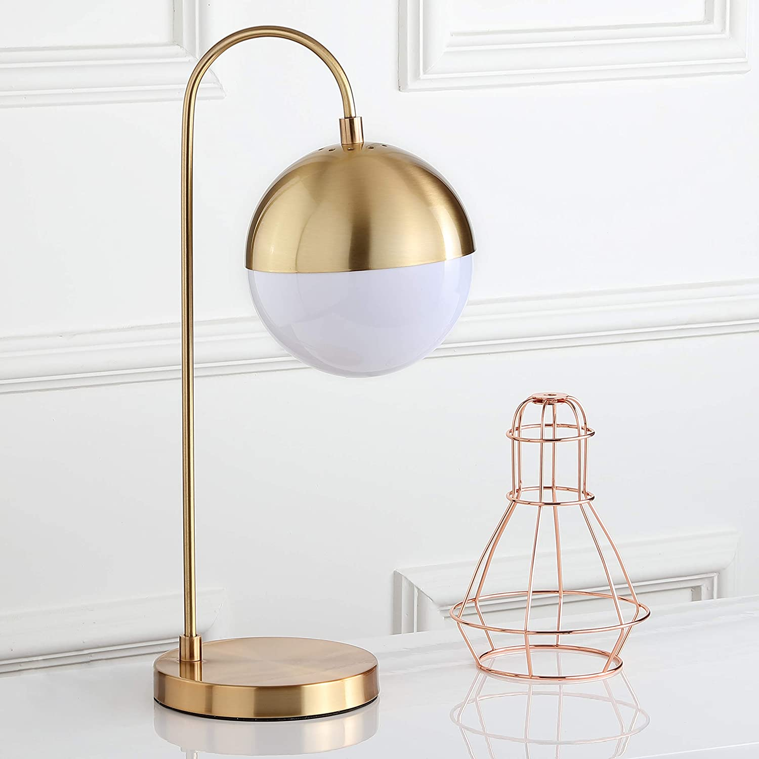 "Safavieh TBL4040A Lighting Collection Cappi 20.5"" Brass Gold Table Lamp,"