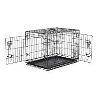 AmazonBasics Double Door Folding Metal Cage Crate For Dog or Puppy - 30 x 19 x 21 Inches