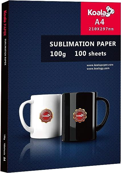 Koala - Papel de sublimación, A4, para cualquier impresora de inyección de tinta con tinta de sublimación (100 páginas, 100 g/m2): Amazon.es: Oficina y papelería