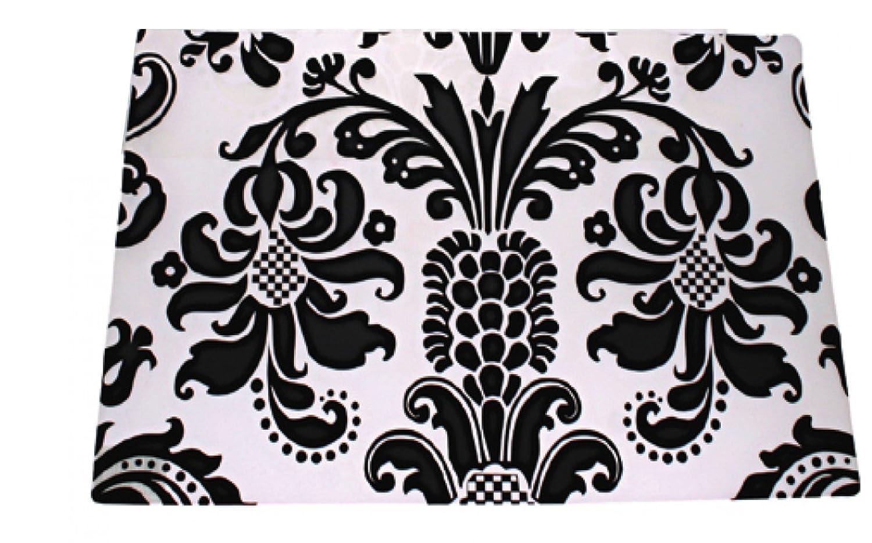Lot de 4 sets de table OOTB/-/Design/ classique floral vintage/-/En plastique lavable/-/42/x/28/cm/-/Transparent/-/Noir