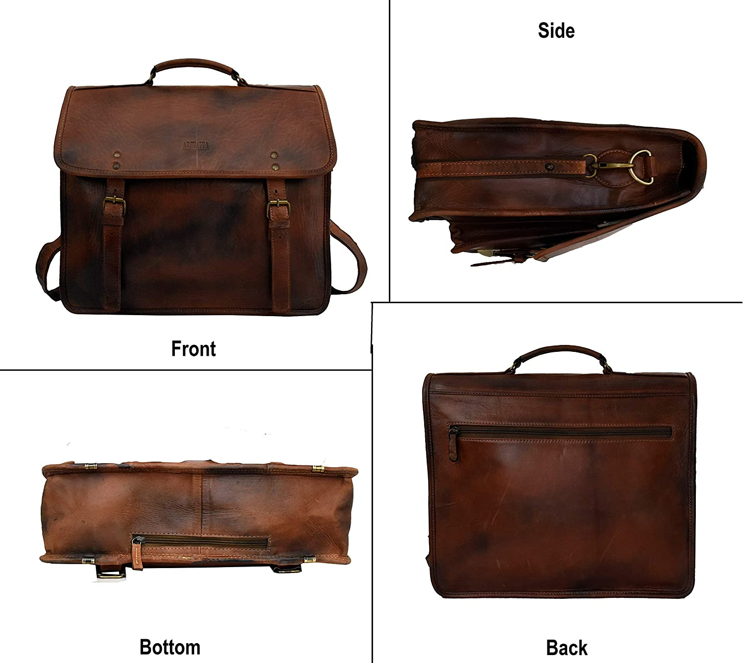 Adwaita 18 Inch Handmade Custom and personalize Antique Classic Leather Messenger Satchel Laptop Leather Bag Leather Messenger Bag with Rain Cover Version-1.0