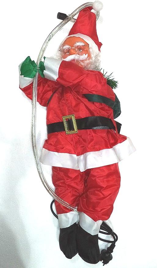 Papá Nöel Trepador con LUZ. Apto para exteriores. Medidas del muñeco: 70x25x15cms.. La manguera con luz de color blanco cálido, mide 85 cms..: Amazon.es: Hogar