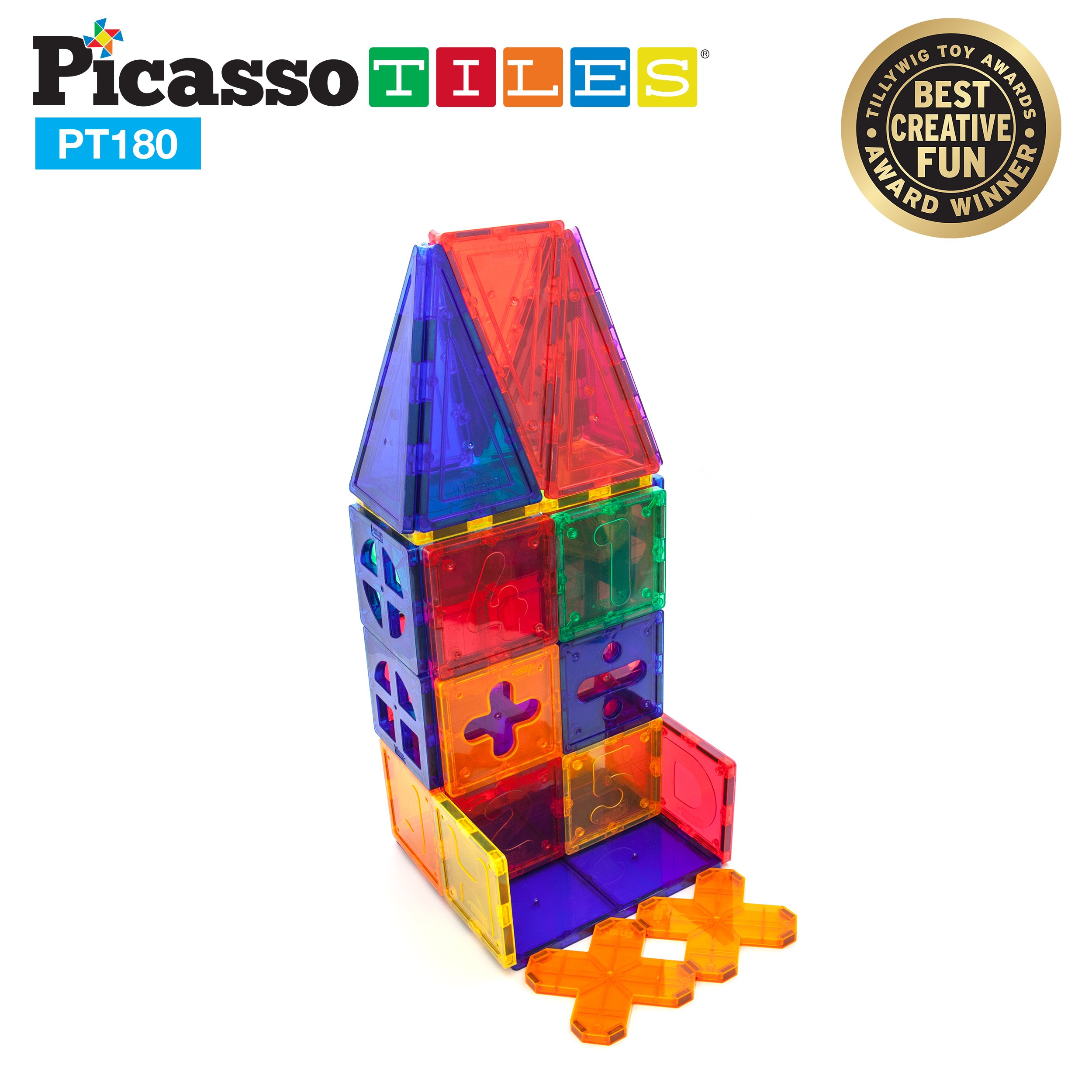 PicassoTiles PT180 Piece Set 180pc Building Block Toy Deluxe Construction Kit Magnet Building Tiles Clear Color Magnetic 3D Construction Playboards Educational Blocks Creativity Beyond Imagination by PicassoTiles (Image #4)