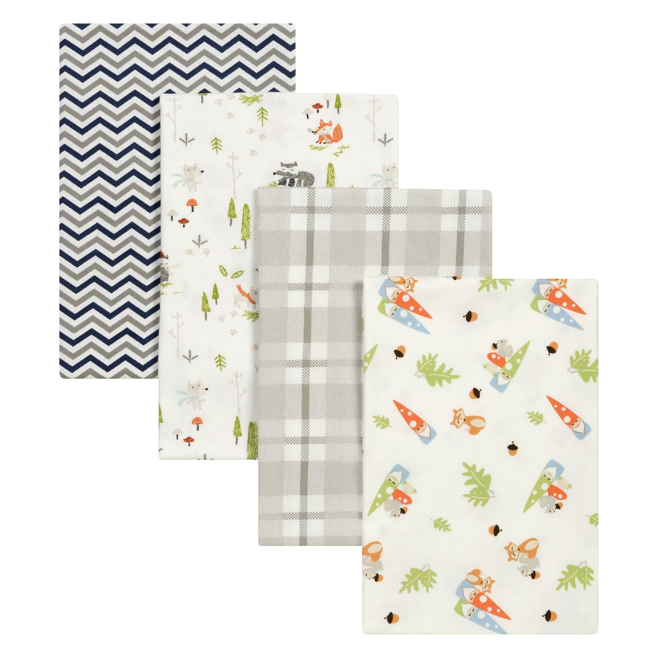DE 4 Piece Beautiful Baby Red Green Grey Woodsy Gnomes Deluxe Flannel Blanket Set, Animal Themed Nursery Bedding, Infant Child Woods Forest Fox Racoon Garden Nature Cute Adorable, Cotton