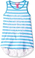 Dream Star Girls' Stripe Tank with Applique, Stones and Lace at Back Hem