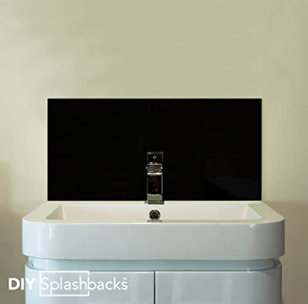 Black Glass Sink Splashback 50cm X 30cm