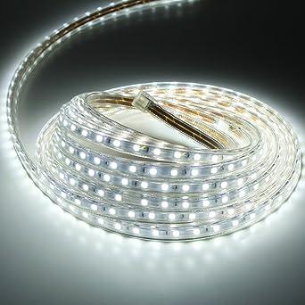 Liqoo® Abkürzbar 5m LED Streifen Strip 230V IP65 Wasserdicht Aussen ...