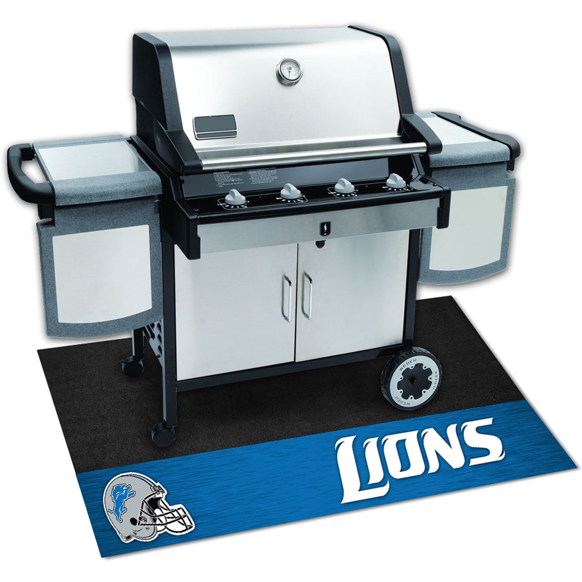 N&T 1 Piece Lions Grill Mat 42 inch, Football Themed Grill Pad Large Durable Patio Deck Floor Protection Team Logo Fan Merchandise Athletic Team Spirit Fan Black, Padded Vinyl