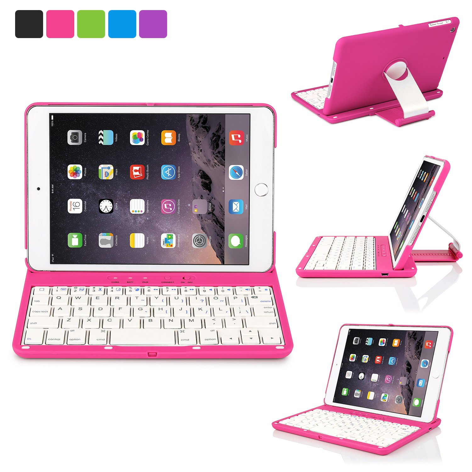 iNNEXT Aluminum 360 Swivel Rotating Stand Case Cover Built-in Bluetooth Keyboard for ipad Mini 1 2 3 with Retina Display (Hot Pink) by iNNEXT (Image #1)