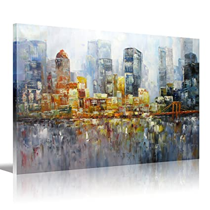New York City Palette Knife Art Brooklyn Bridge Oil Painting Stretched Ready To Hang On Canvas For Living Room Bedroom Home Office Decorations 16x20