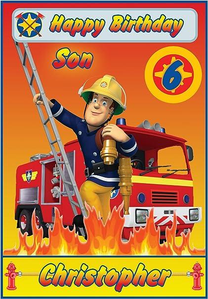 Personnalise Sam Le Pompier Inspire Carte D Anniversaire Superbe Amazon Fr Fournitures De Bureau