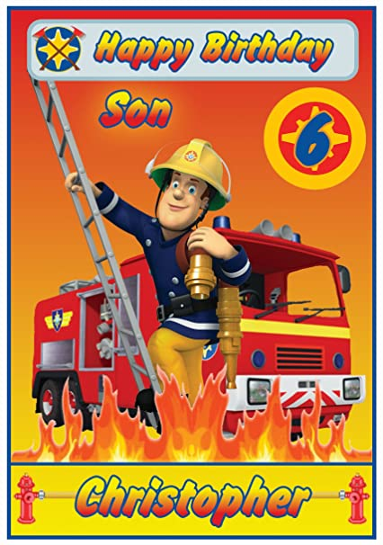 Personalizado de bombero Sam inspirado en tarjeta de ...