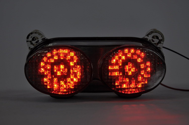 Topzone Moto Trasparente lente Moto LED Fanale posteriore con integrato Indicatore di direzione Lampada Indicatori per Kawasaki 1998-2002 Ninja ZX-6R, 1998-2002 Ninja ZX-9R/ZR7, 2005-2007 Ninja ZZR600 HD