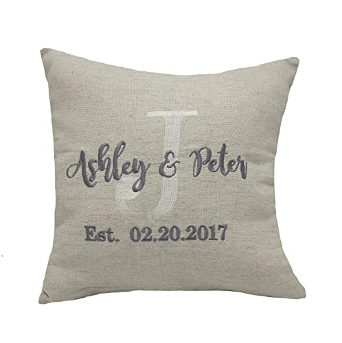 YugTex Pillowcases Embroidered Pillow Covers, Couple Personalized Throw Pillowcases, Gifts for Wedding, Housewarming, Couple Gifts, Nursery, Valentine, ...