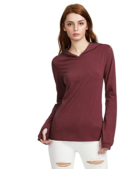157fc1536499 SheIn Women's Long Sleeve Solid Color Thumb Holes Hoodie T-Shirt Burgundy  Small